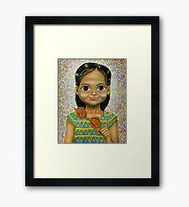 Chicken Head Girl Framed Print