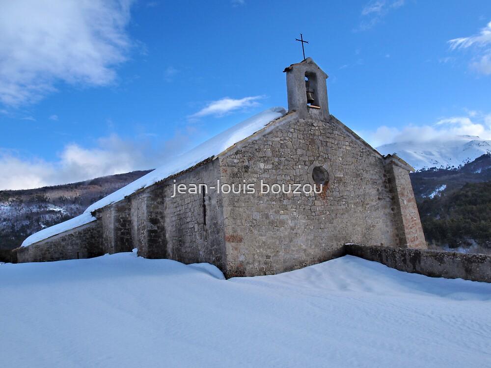 """Chapel """"Notre-Dame de Valvert""""  in a Provence snowy landscape... by jean-louis bouzou"""