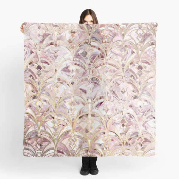 Dusty Rose and Coral Art Deco Marbling Pattern Scarf