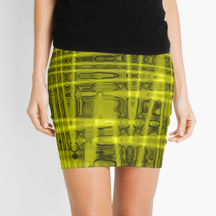 QUANTUM FIELDS ABSTRACT [1] YELLOW [1]  Mini Skirt