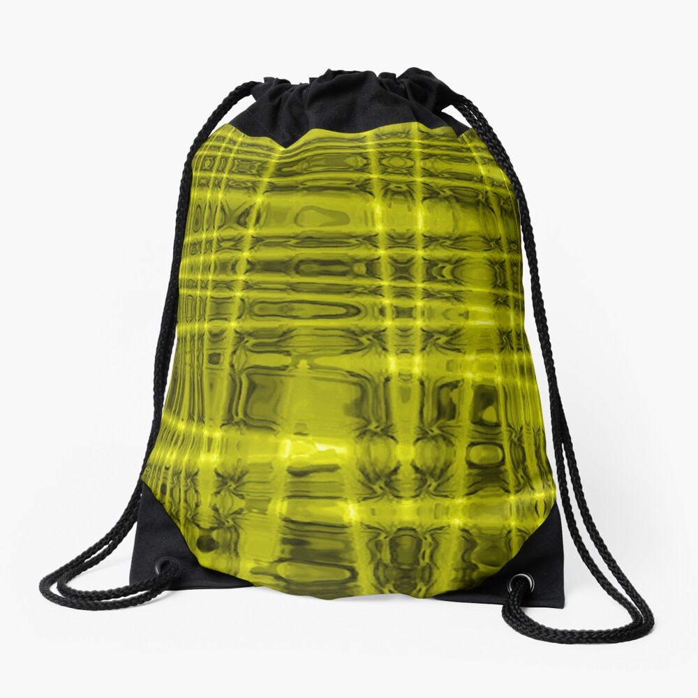 QUANTUM FIELDS ABSTRACT [1] YELLOW [1]  Drawstring Bag