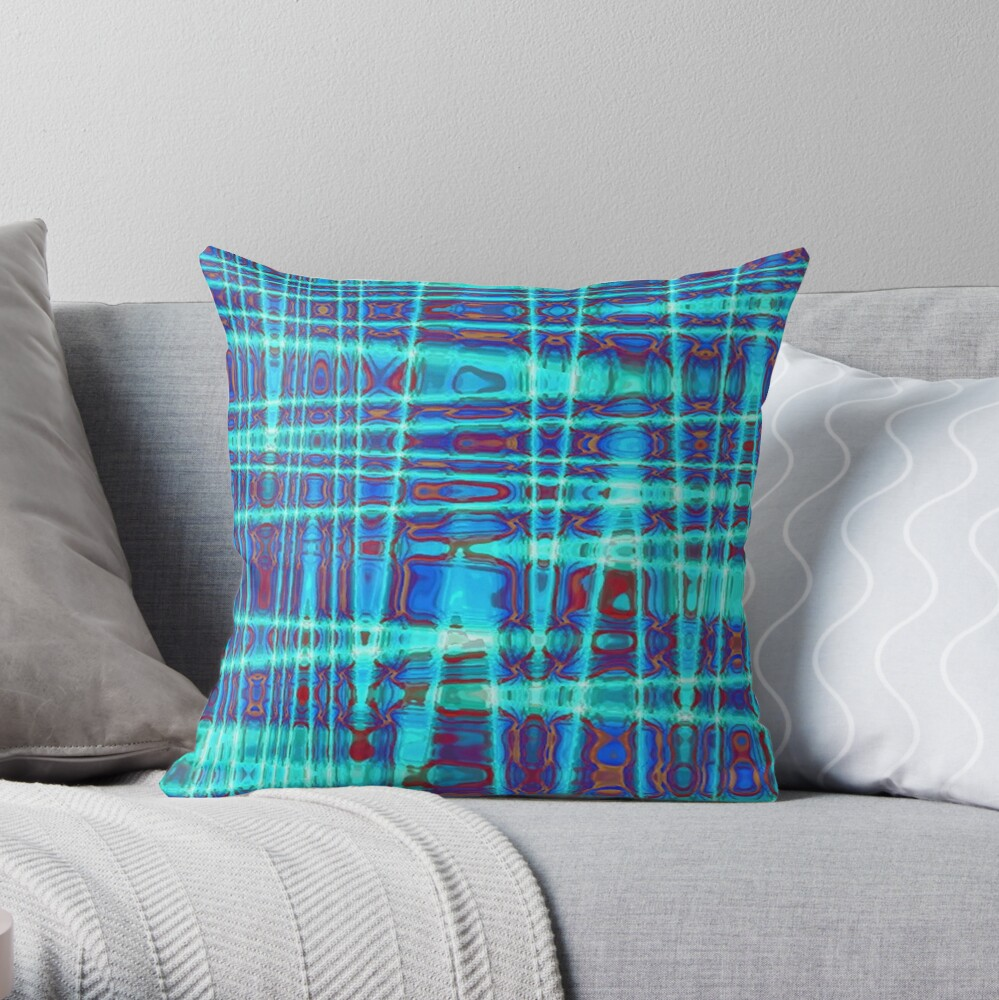 QUANTUM FIELDS ABSTRACT [1] INDIGO [2] Throw Pillow