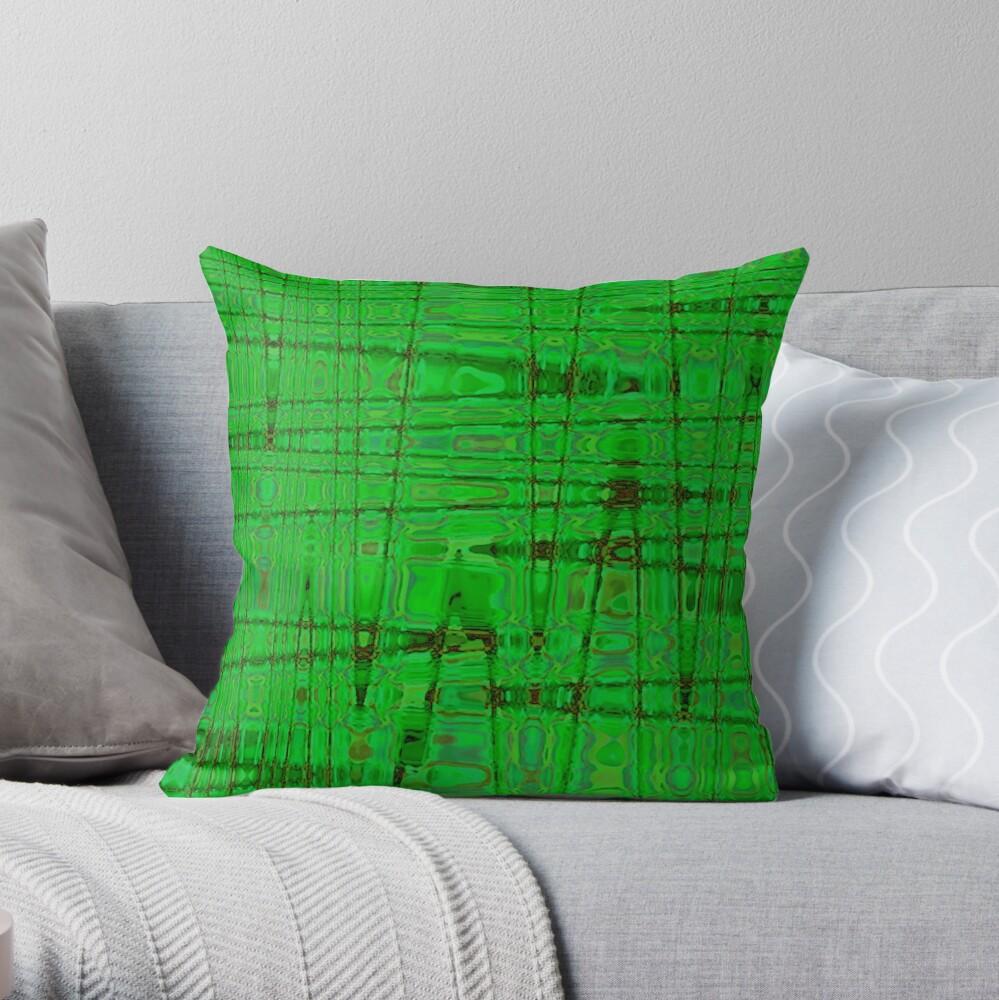 QUANTUM FIELDS ABSTRACT [1] GREEN [1] Throw Pillow
