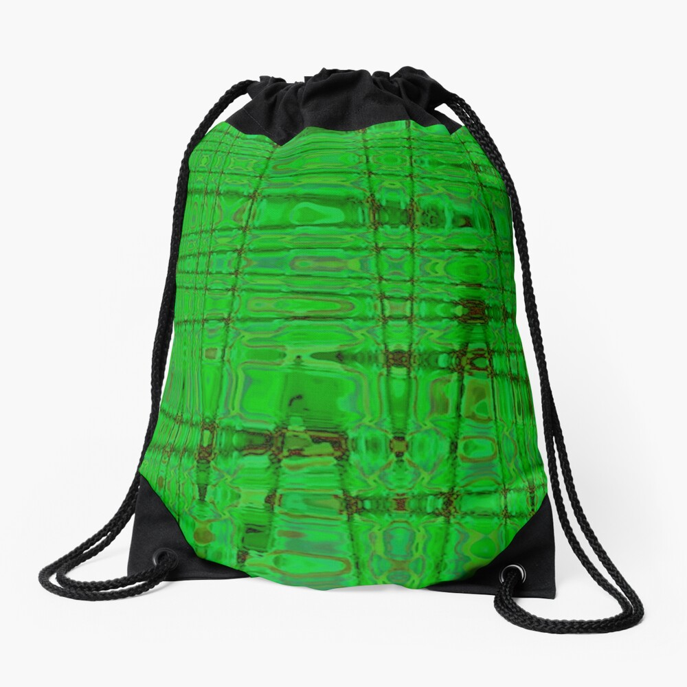 QUANTUM FIELDS ABSTRACT [1] GREEN [1] Drawstring Bag