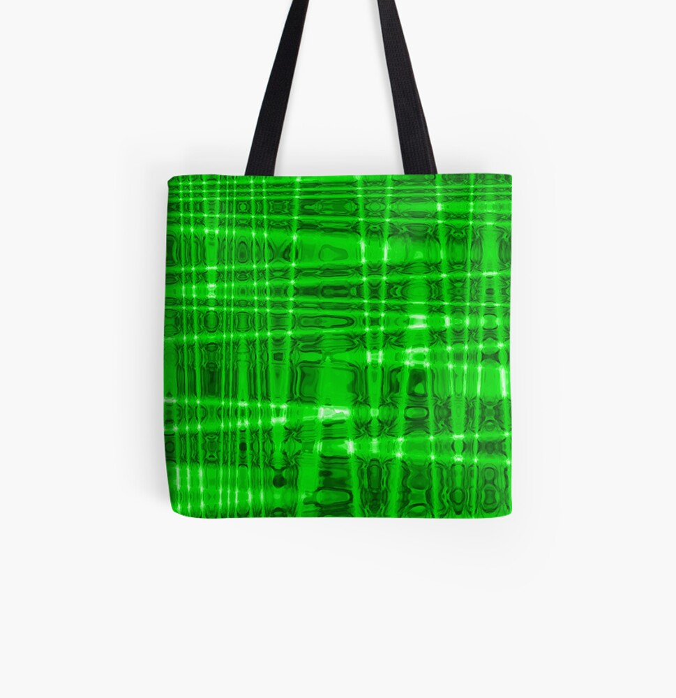 QUANTUM FIELDS ABSTRACT [1] GREEN [2] All Over Print Tote Bag