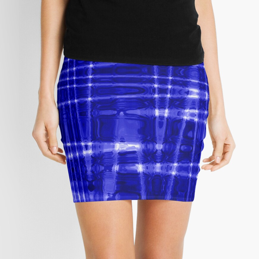 QUANTUM FIELDS ABSTRACT [1] BLUE [1] Mini Skirt