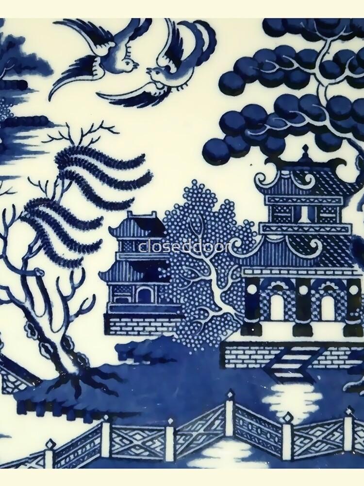 Antique willow ware oriental toile by closeddoor
