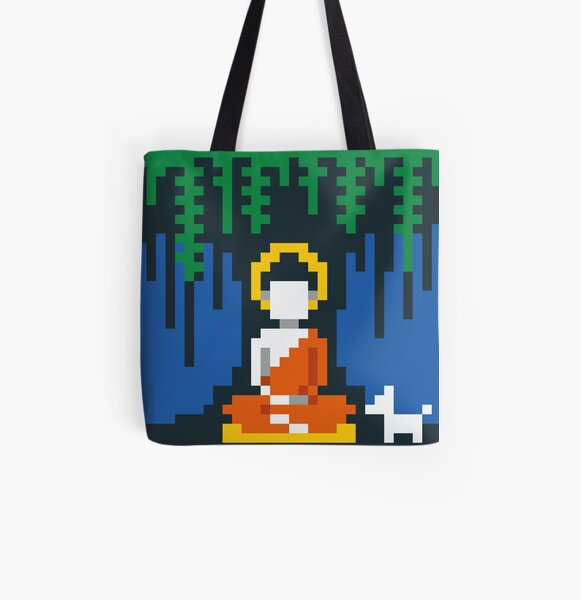 Buddha Under a Tree with a Dog All Over Print Tote Bag