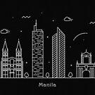 Manila Skyline Minimal Line Art Poster by A Deniz Akerman