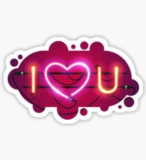 I Love You with Pink Heart Neon Sign Sticker