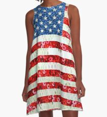 American Flag Sequin Glitter Look Patriotic USA A-Line Dress