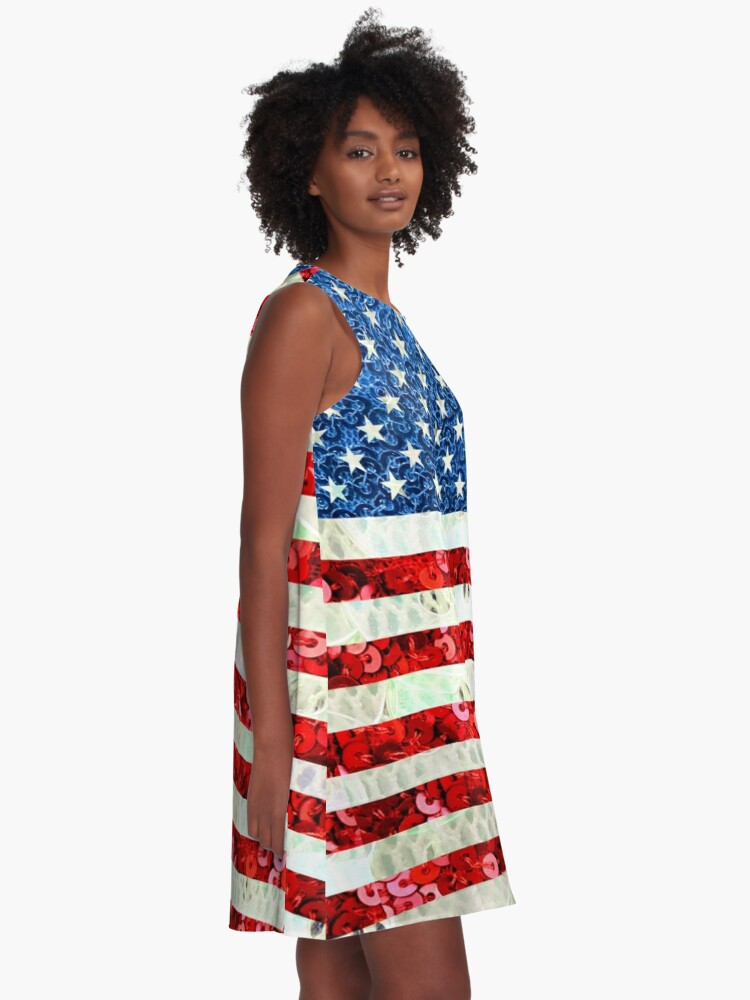 Alternate view of American Flag Sequin Glitter Look Patriotic USA A-Line Dress