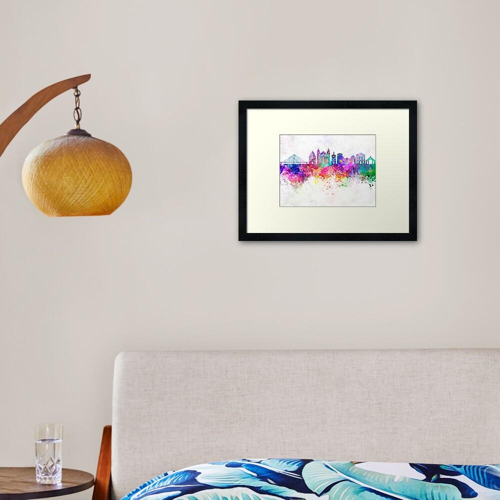 Przemysl skyline in watercolor background Framed Art Print