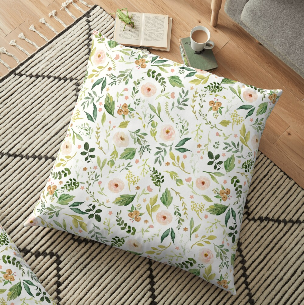 Botanical Spring Flowers  Floor Pillow