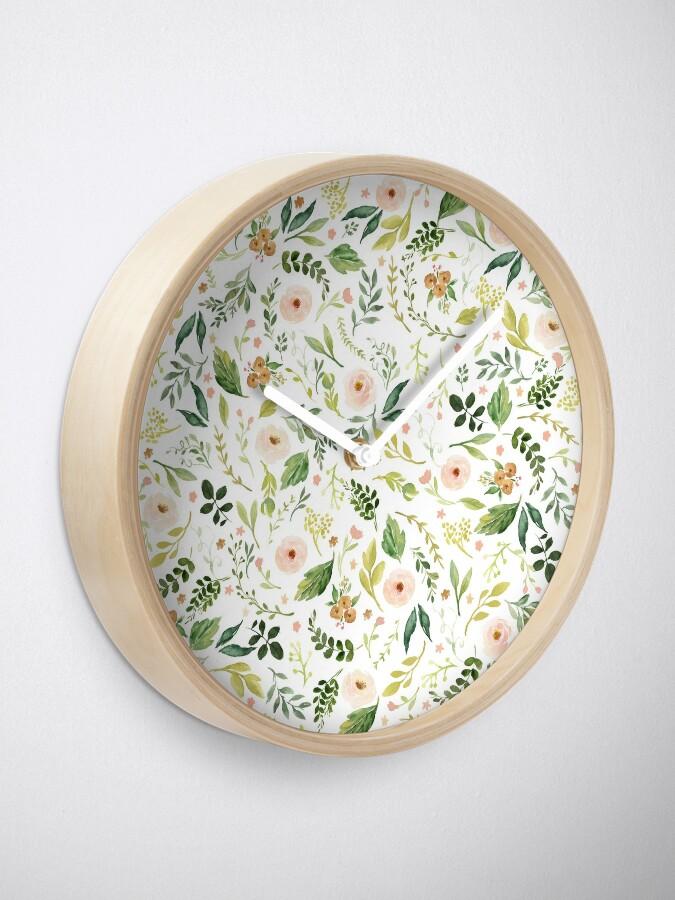 Alternate view of Botanical Spring Flowers  Clock