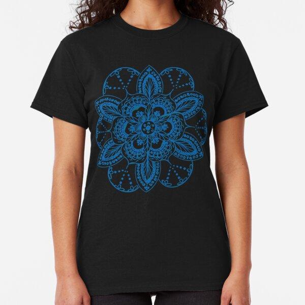 Blue mandala flower on Bondi Beach Classic T-Shirt