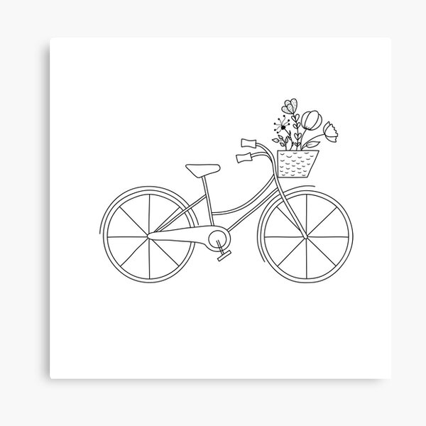 Hand drawn bicycle with basket and flowers Canvas Print