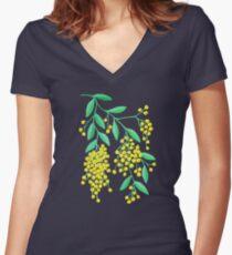 Golden Wattle - Navy Women's Fitted V-Neck T-Shirt