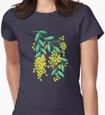 Golden Wattle - Navy Women's Fitted T-Shirt