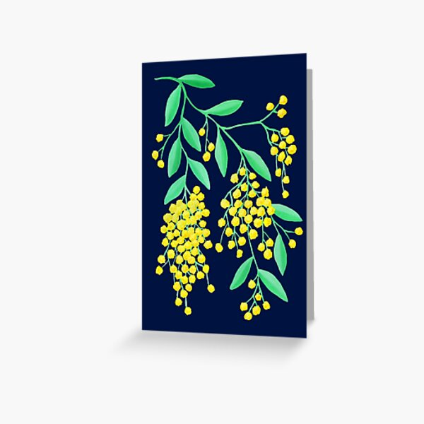Golden Wattle - Navy Greeting Card