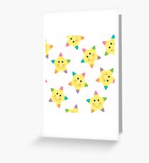 Background with cute cartoon stars Greeting Card