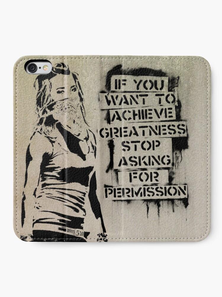 Alternate view of Banksy, greatness iPhone Wallet