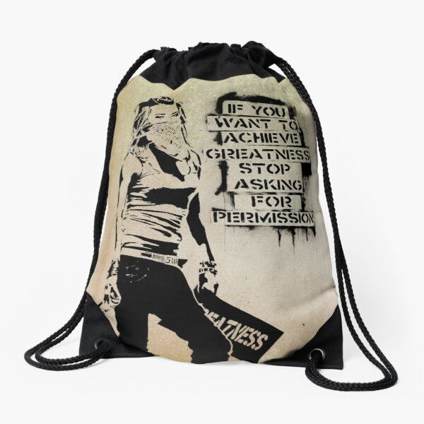 Banksy, greatness Drawstring Bag