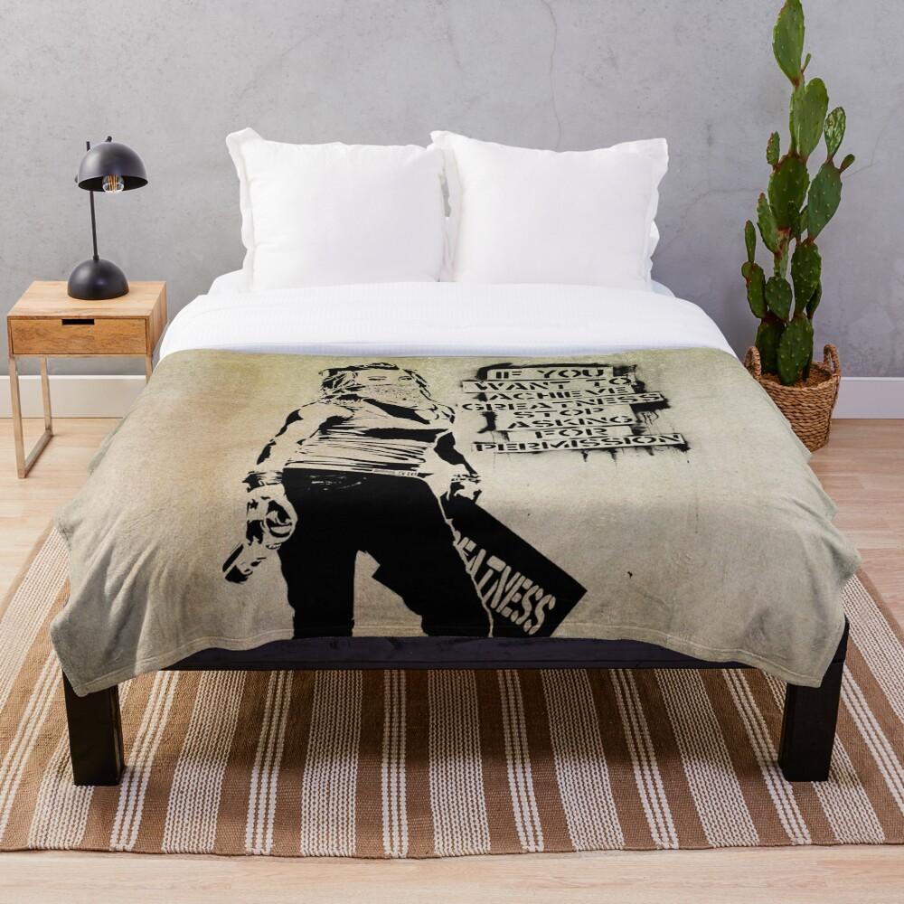 Banksy, greatness Throw Blanket