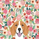 Beagle floral dog breed pet lover dog head with flowers beagles gifts by PetFriendly