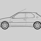 Peugeot 306 GTI-6 Outline Drawing by RJWautographics