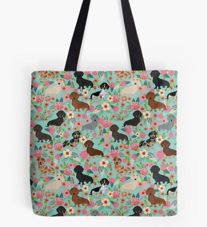 Dachshund floral dog breed pet patterns doxie dachsie gifts must haves Tote Bag
