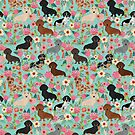 Dachshund floral dog breed pet patterns doxie dachsie gifts must haves by PetFriendly