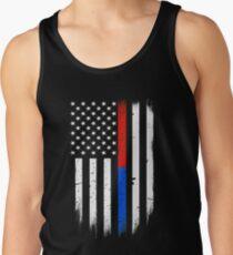 First Responders dünne rote blaue Linie Flagge Tanktop für Männer