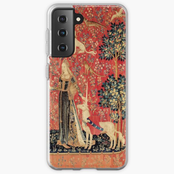 LADY AND UNICORN ,TOUCH ,Lion,Fantasy Flowers,Animals Red Green Floral Samsung Galaxy Soft Case