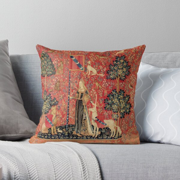LADY AND UNICORN ,TOUCH ,Lion,Fantasy Flowers,Animals Red Green Floral Throw Pillow