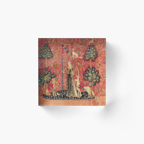 LADY AND UNICORN ,TOUCH ,Lion,Fantasy Flowers,Animals Red Green Floral Acrylic Block