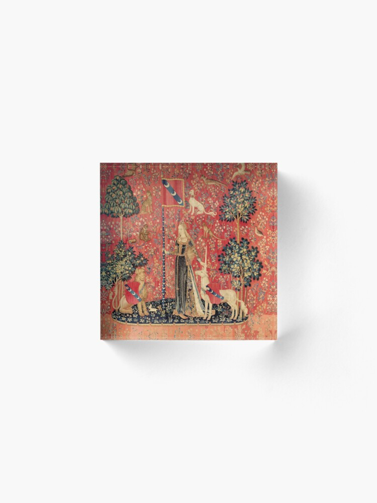 Alternate view of LADY AND UNICORN ,TOUCH ,Lion,Fantasy Flowers,Animals Red Green Floral Acrylic Block