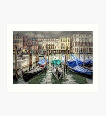 Rainy day on The Grand Canal in Venice Art Print