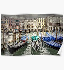 Rainy day on The Grand Canal in Venice Poster