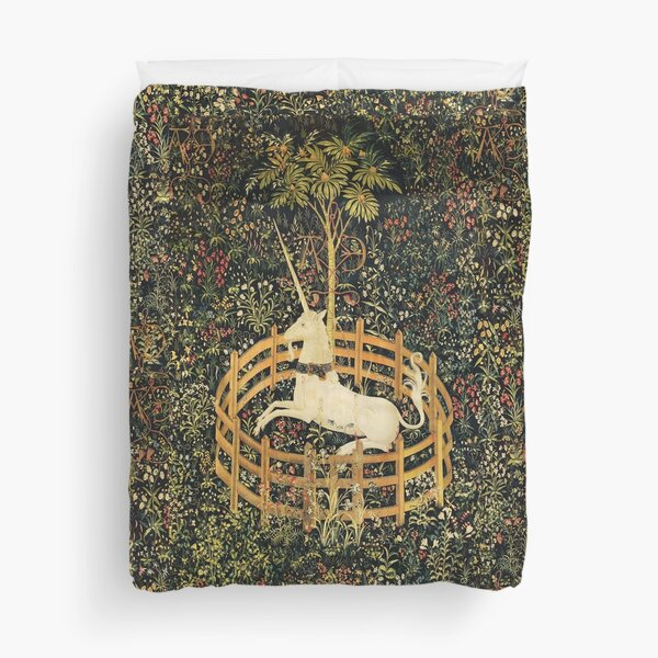 UNICORN AND GOTHIC FANTASY FLOWERS, GREEN FLORAL MOTIFS Duvet Cover