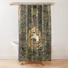 UNICORN AND GOTHIC FANTASY FLOWERS,FLORAL MOTIFS Shower Curtain