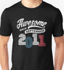 Awesome Since September 2011 Shirt Vintage 7th Birthday Unisex T-Shirt
