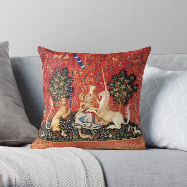 LADY AND UNICORN ,SIGHT  Red Green Fantasy Flowers,Animals Throw Pillow