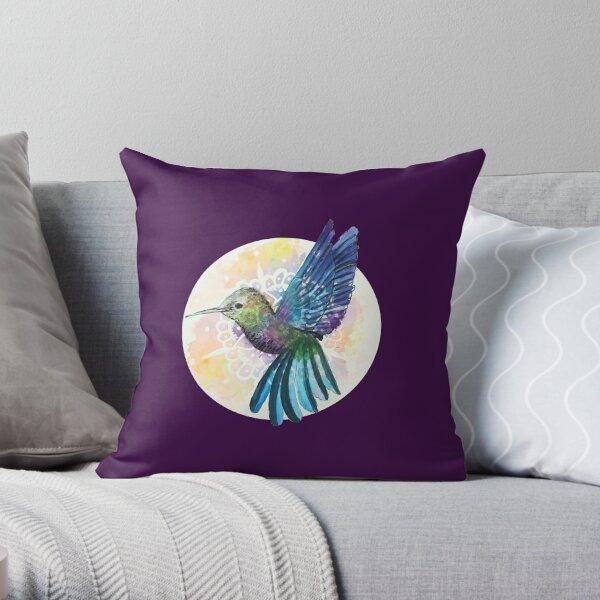Hummingbird - Teal - Circle Throw Pillow