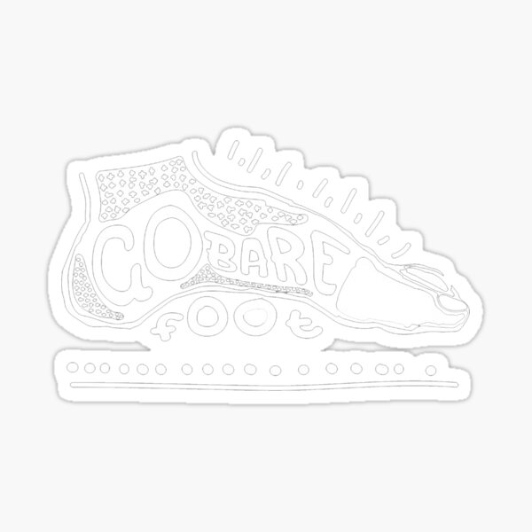 Go Barefoot White Sticker