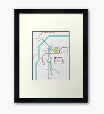 Nanjing Metro Map - China Framed Print