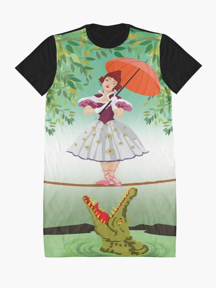 Alternate view of Cute halloween The crocodile girl Deadly circus Graphic T-Shirt Dress