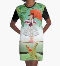 Cute halloween The crocodile girl Deadly circus Graphic T-Shirt Dress