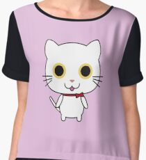 Funny Cat Shirts Hello Tees Happy Cats for Woman Cheerful Funny Cat Print Chiffon Top