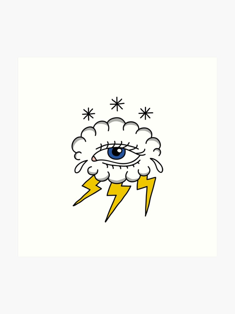 cloud with eye illustration traditional tattoo flash\